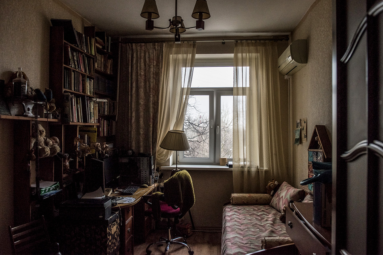 A home office in a Soviet Khrushchyovka apartment building.